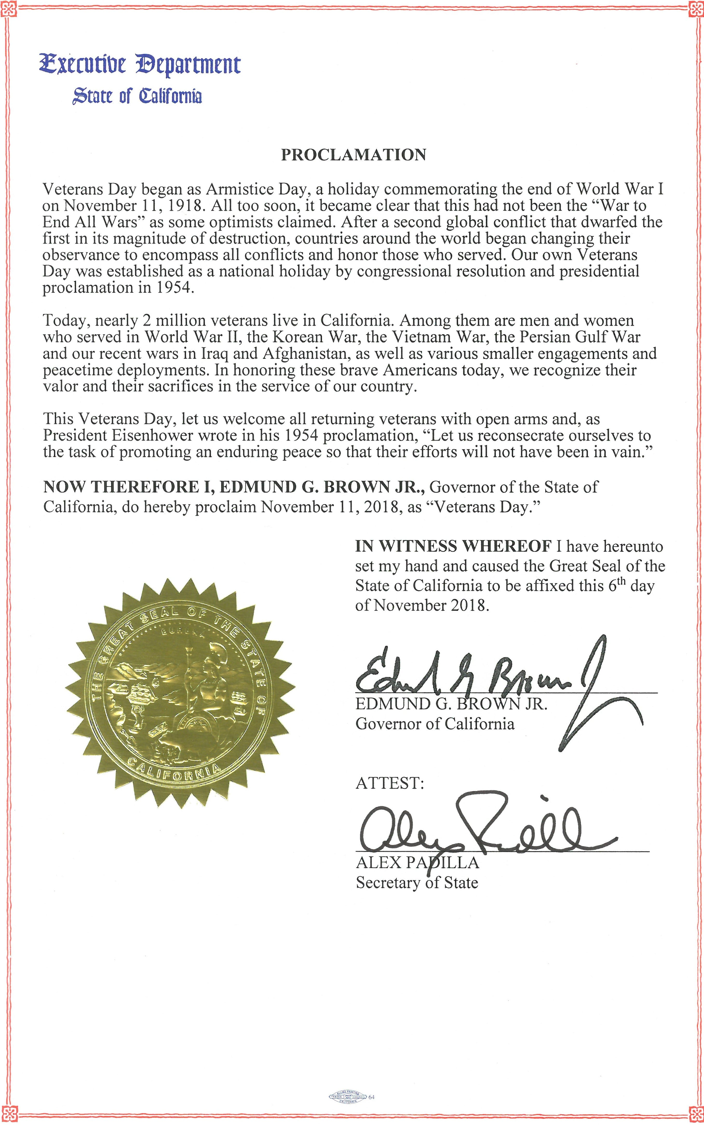 Governor Brown Issues Proclamation Declaring Veterans Day