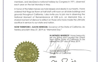 Governor Newsom Issues Proclamation Declaring Memorial Day