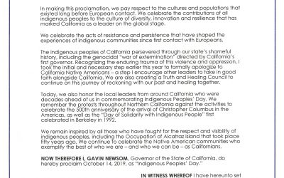 Governor Newsom Issues Proclamation Declaring Indigenous Peoples'Day