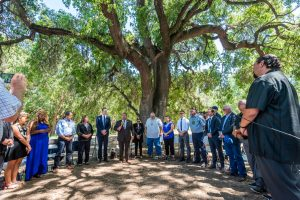 DSC_6549—California Governor Gavin Newsom speaks to tribal leaders during an event in West Sacramento, Tuesday, June 18, 2019. Photo by Brian Baer, California State Parks.