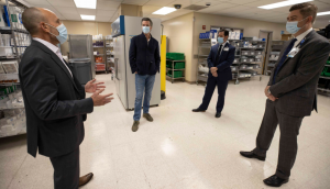 Governor Newsom takes a tour of an ultra-low temperature storage facility at the University of California, Davis Medical Center.