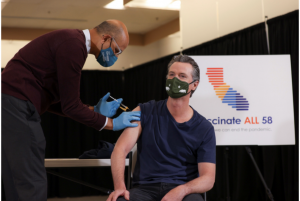 Governor Newsom receives his Johnson and Johnson vaccination shot.