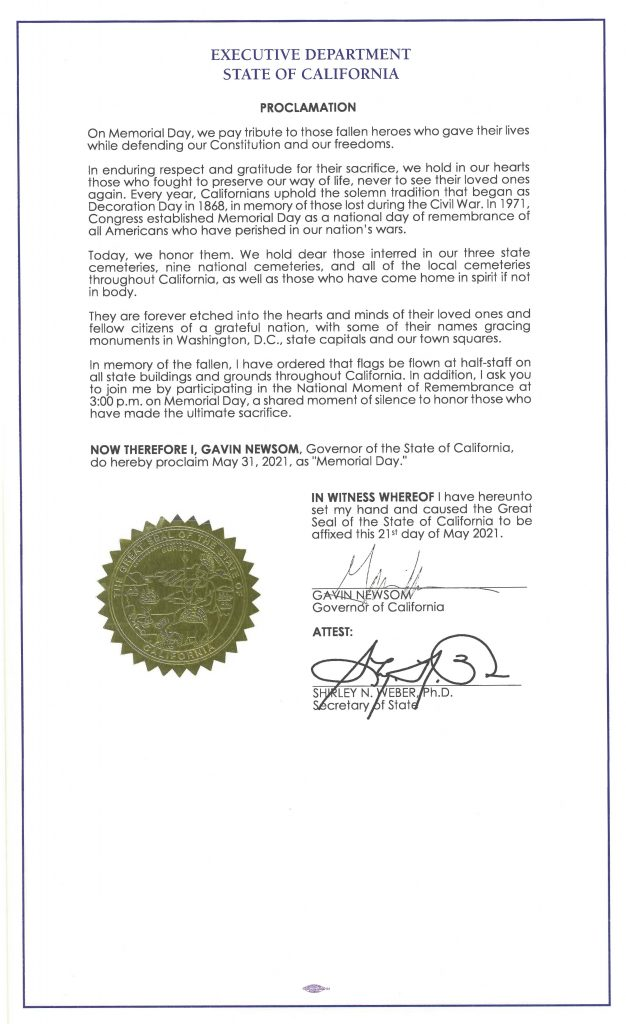 Signed 2021 memorial day proclamation
