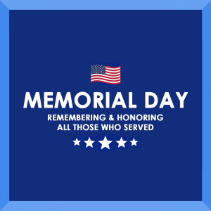 Memorial Day graphic with flag