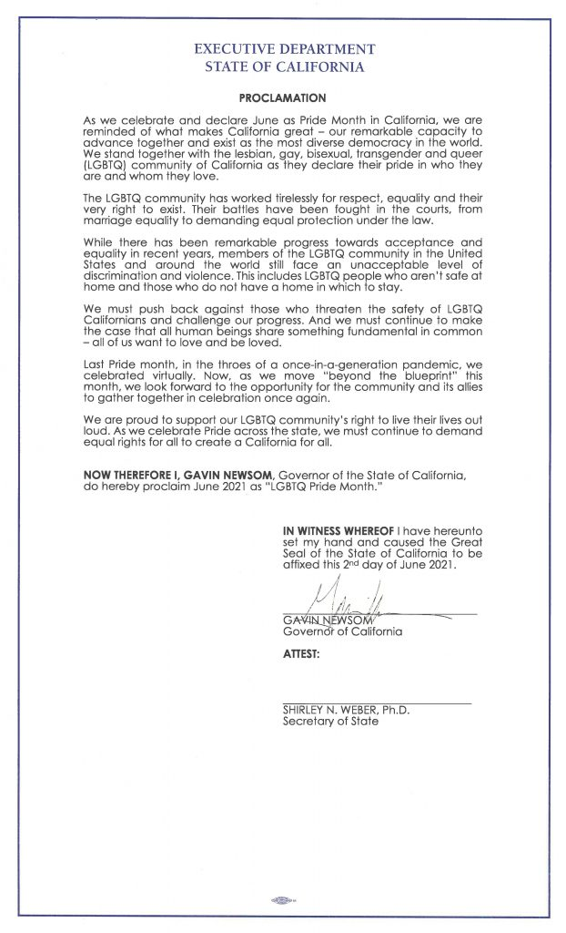 copy of signed pride month proclamation