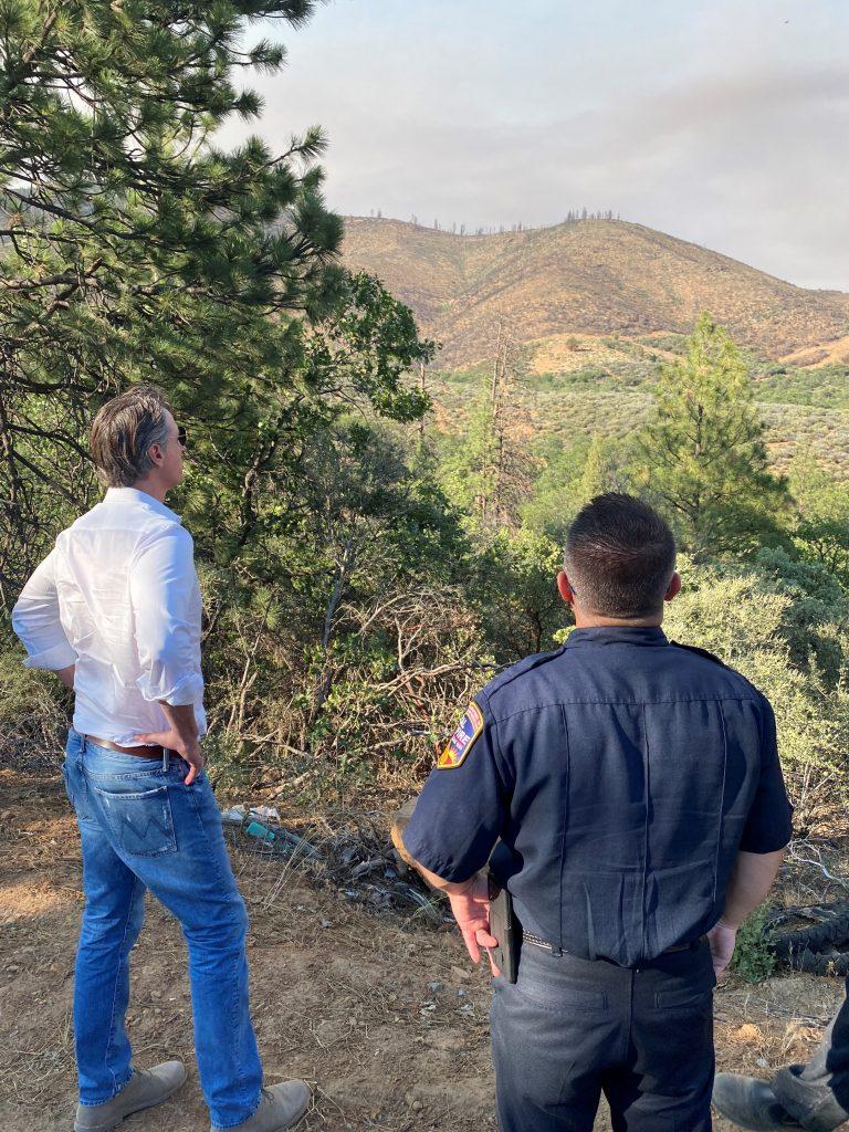 Governor Newsom and firefighter survey fuel break