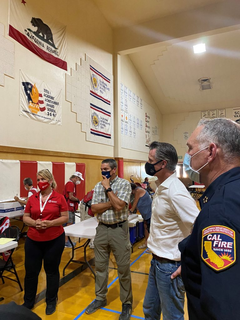 Governor Newsom and state officials gather at Lava Fire Incident Command Post