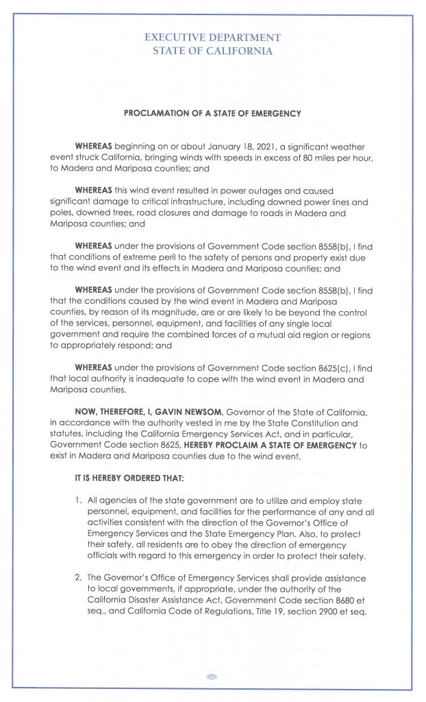 scanned copy of emergency proclamation