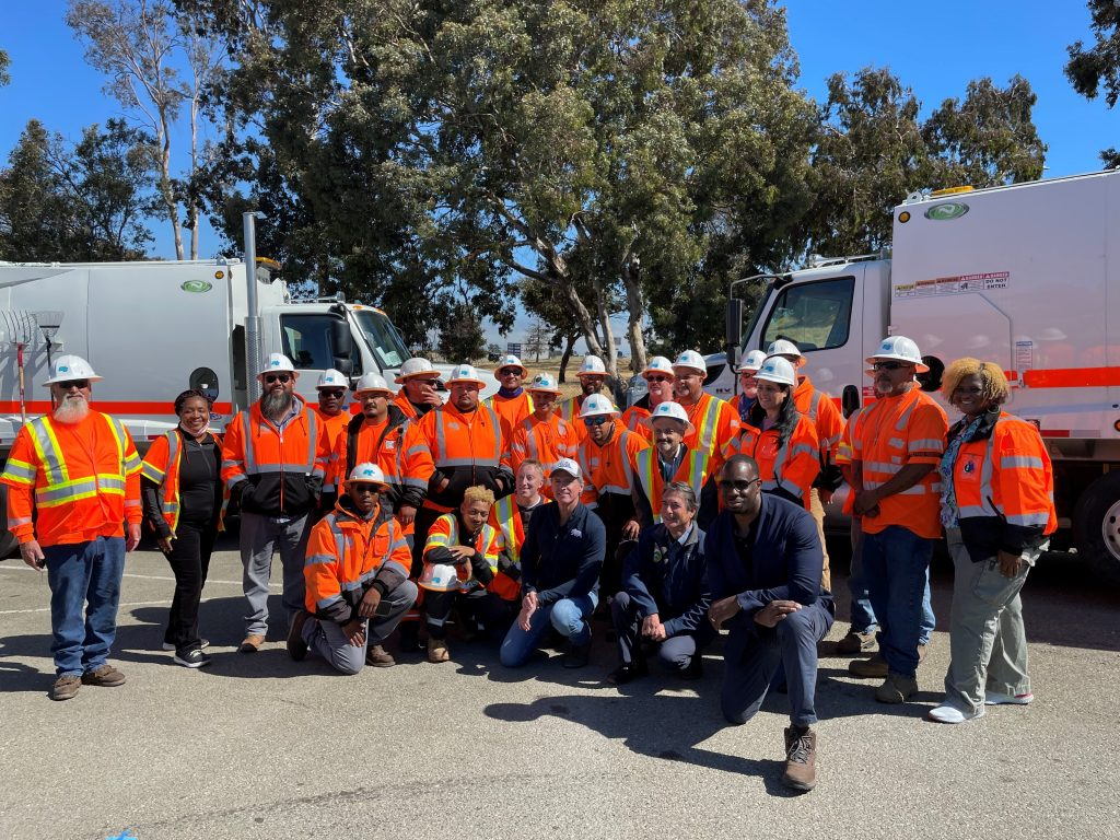 Governor Newsom with Caltrans workers