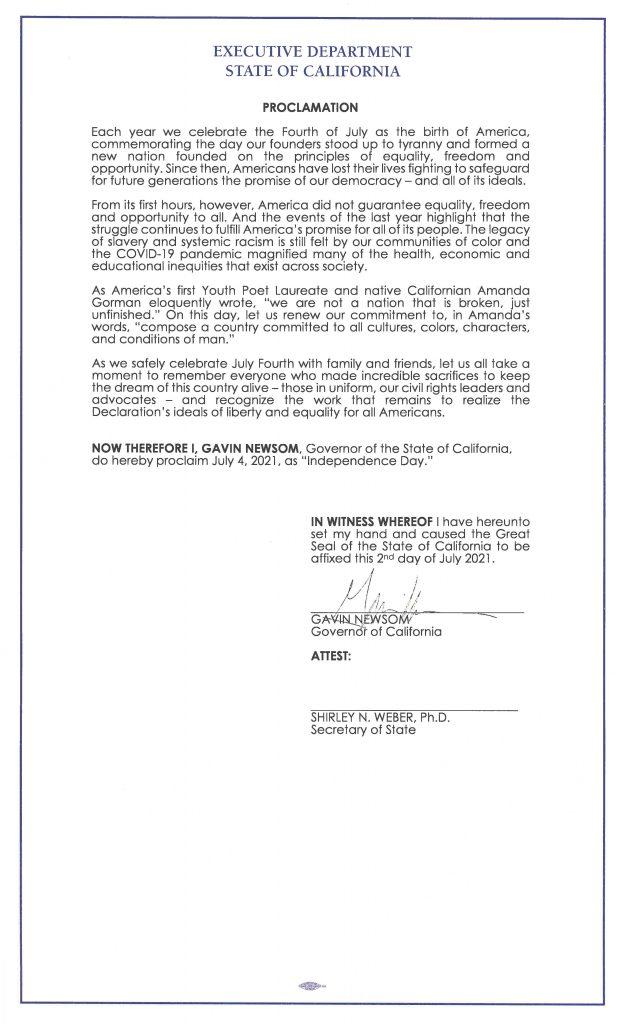 copy of proclamation