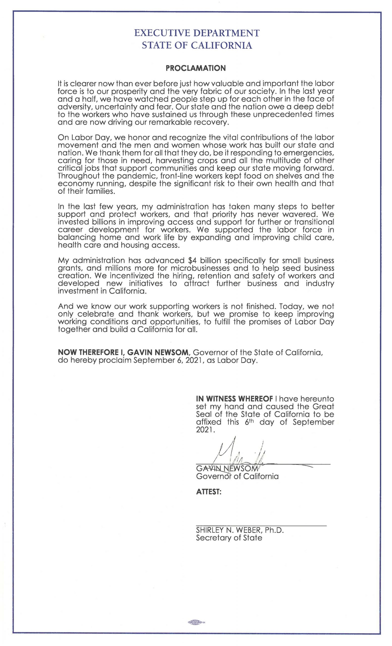 Labor Day proclamation
